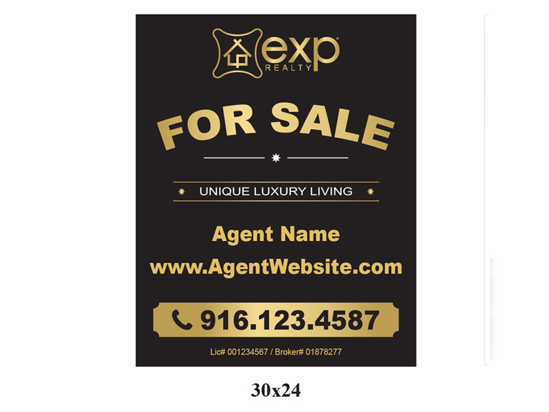 30 x 24 EXP_Realty For Sale Realty Sign Gold