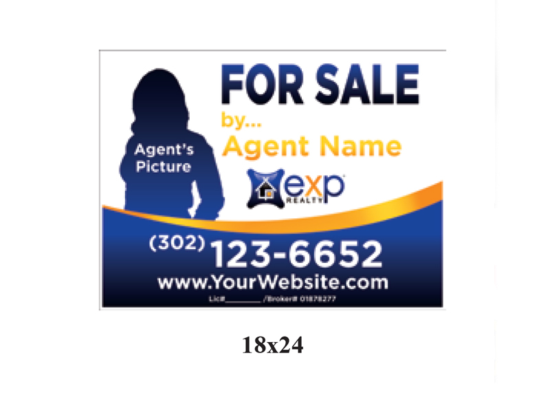18 x 24 EXP_Realty For Sale Realty Sign Blue