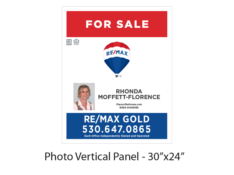30 x 24 Buy Sign Re/Max Gold For Sale Panel with Photo Vertical