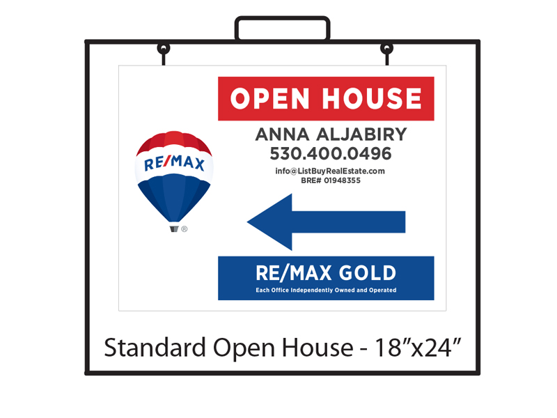 18 x 24 Buy Sign Re/Max Gold Open House Panel